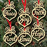 Alinay 6pcs Christmas Tree Deco Wooden Word Peach Heart Ornaments