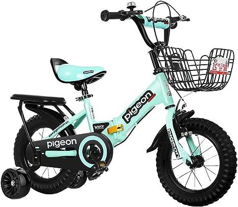QULONG Bicicleta para niños Bicicleta a Prueba de Golpes Bicicleta para niños 12/14 Pulgadas Ciclismo para niños y niñas, Adecuado para niños de 2 a 5 años Bicicleta Verde, Blanca y Rosa: