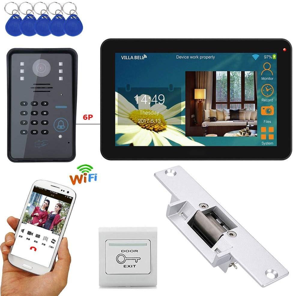 9 pulgadas con cable/inalámbrico Wifi RFID contraseña videoportero timbre teléfono intercomunicador con cerradura eléctrica + IR-CUT HD 1000TV