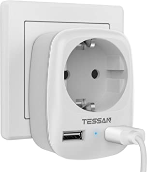 TESSAN Enchufe USB Pared, Ladron Enchufes (4000W) con Doble USB y 1 Toma de CA, Enchufe Multiple Cargador USB Pared Adaptador Enchufe con USB España, Ladron USB Carga para Movil iPad-Blanco: Amazon.es: