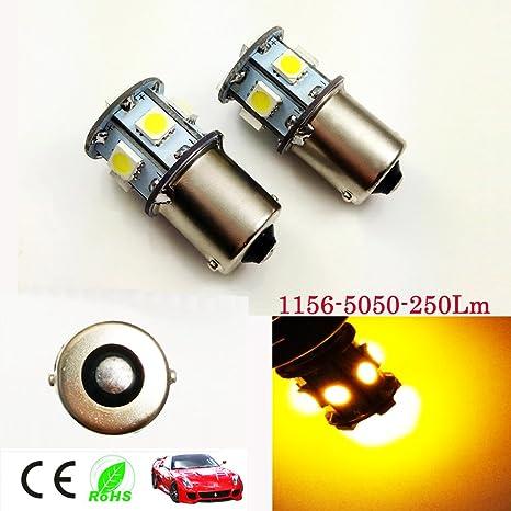 6 V AC 1156 BA15S 1003 1141 250LM Blanco/Amarillo 8-SMD LED bombillas