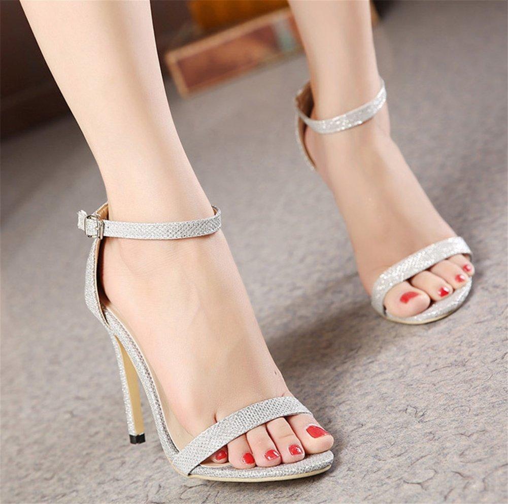 NVXIE Lady Frauen Peep Toe Sandalen Frauen Lady Sommer Damenschuhe Große Größe High Heels Party Kleider 35-42 Silver 8ae8c6