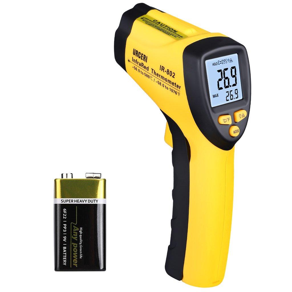 URCERI Thermomètre Infrarouge Numérique Frontal sans Contact avec Rétroéclairage LCD -58 ℉ à 1076 ℉ (-50° C à 580° C), noir et jaune IR-802