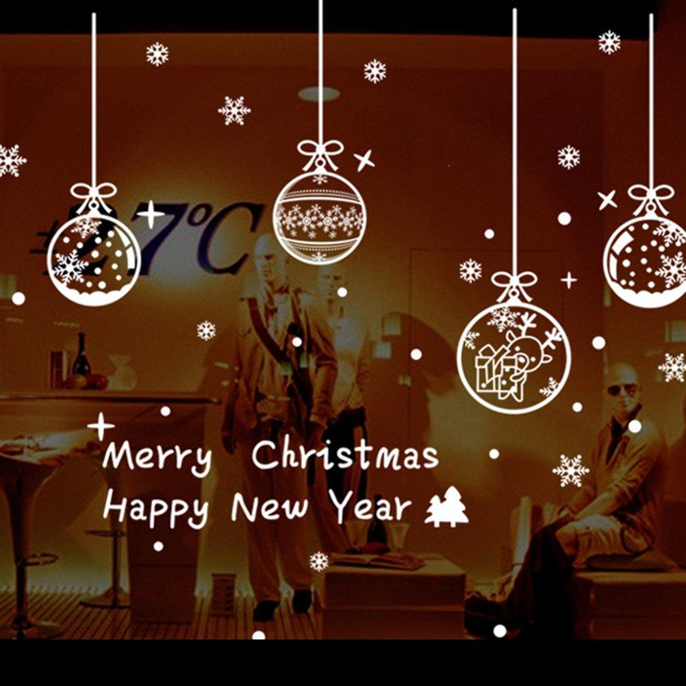 Adesivi vetrofania natale WINOMO Adesivo con Palline Fiocchi di neve e lettere merry christmas per decorazioni natalizi