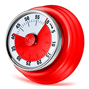 Kitchen Timer, Kitchen Countdown Cooking Timer Reminder, Magnetic Time Management Timer (Mechanical-Red)