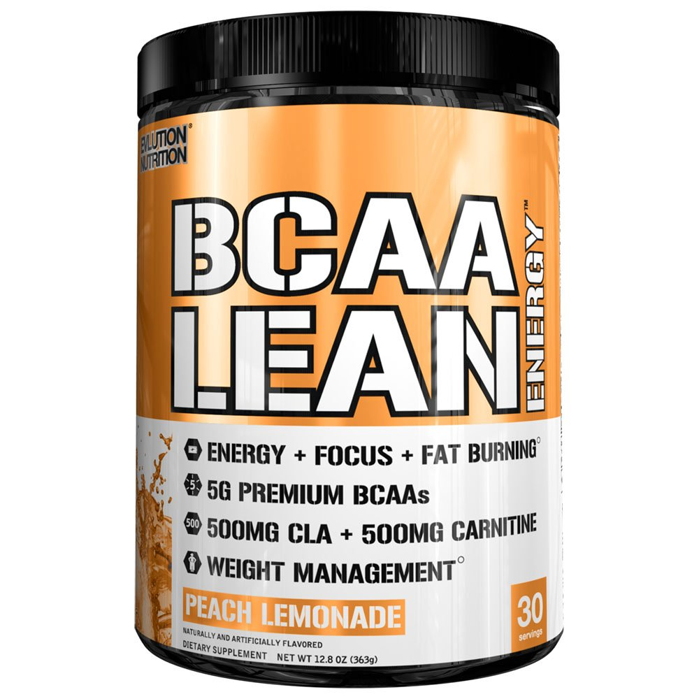Evlution Nutrition BCAA Lean Energy - Energizing Amino Acid for Muscle Building Recovery and Endurance, with a Fat Burning Formula, 30 Servings (Peach Lemonade)