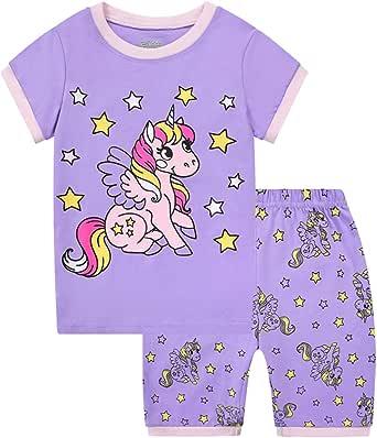 Pijamas Dos Piezas para Niña de Verano de Manga Corta 100% Algodón, Precioso Regalos de Pascua para Niña, Ropa de Dormir para Niña 2-9 Años