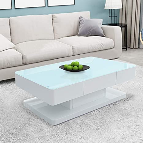 Clipop High Gloss White Coffee Table 8 Mm Tempered Glass Top