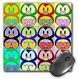 3dRose LLC 8 x 8 x 0.25 Inches Mouse Pad, Cartoon Penguin Pop Art (mp_8061_1)