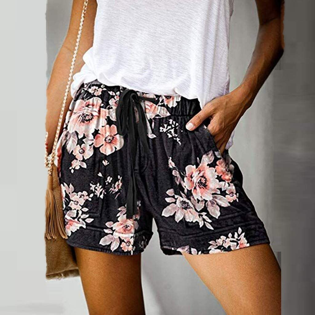 HHoo88 Fashion Women Comfy Drawstring Shorts Casual Elastic Waist Pockets Leopard Flower Camo Pattern Print Pants S-XXL