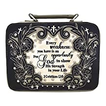GMH Western Embroidered Scripture Verse Psalm Bible Cover Books Case Cross Extra Strap Messenger Bag