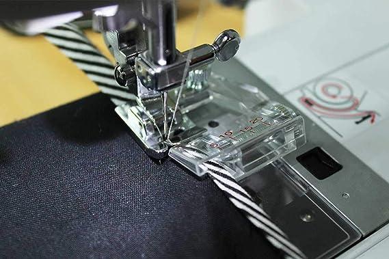 La Canilla ® - Kit 2 Prensatelas Bies Ajustable y Dobladillo para Máquinas de Coser Singer, Alfa, Silvercrest Universal (Snap-On): Amazon.es: Hogar