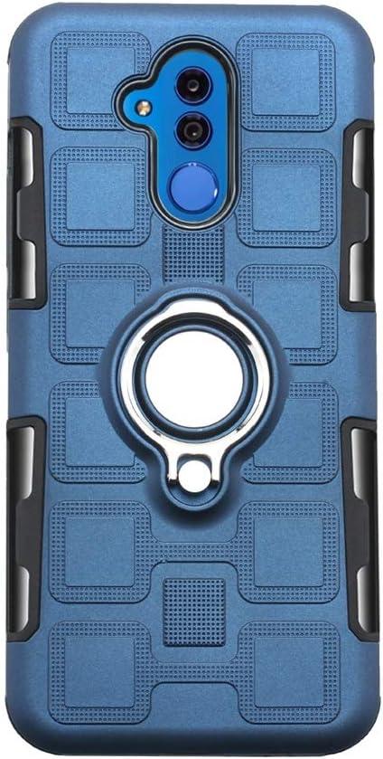 -Azul 2 Piezas Hidrogel Protector de Pantalla Liudashun Funda Huawei Mate 20 Lite Armor Carcasa con 360 Anillo iman Soporte Hard PC Silicona TPU Bumper antigolpes Fundas Carcasas Case