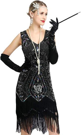 Damska Flapper-Kleid Pailletten ärmellos Fransen Perlen Quasten 1920er Jahre Great Gatsby: Odzież
