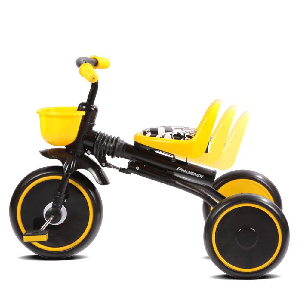 子供の三輪車1-4歳携帯折り畳み軽量ベビー自転車高炭素鋼のベビーカーの自転車、白/黒、70 * 34 * 50センチメートル (Color : Black) B07CV97SKG