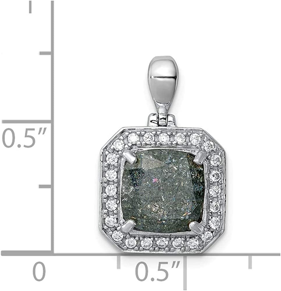 FB Jewels Solid 925 Sterling Silver Rhodium-Plate 1.05Blue Topaz Created Wht Sapphire Pendant