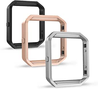Simpeak Compatible for Fitbit Blaze Band Frame (Pack of 3), Accessory Stainless Steel Frame for Fit bit Blaze Smart Watch, Black, Silver, Rose Gold