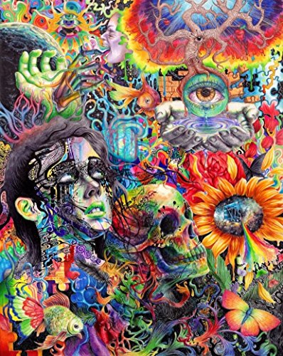 "Psychedelic Trippy Art Fabric Cloth Rolled Wall Poster Print -- Size: (16"" x 13"") from NewBrightBase"