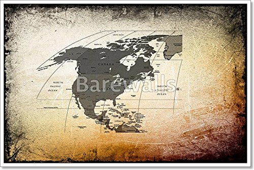Antique Map Of The America,Canada,Mexico On Ancient Background Gallery Wrapped Canvas Art (24in. x 36in.)