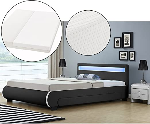 Artlife Polsterbett Bilbao Mit Kaltschaum Matratze Lattenrost Bettkästen Und Led Beleuchtung 140 X 200 Cm Schwarz Bett Jugendbett