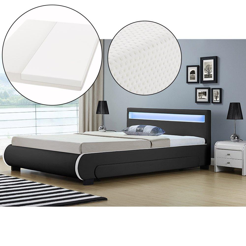 ArtLife Polsterbett Bilbao mit Kaltschaum-Matratze, Lattenrost, Bettkästen und LED Beleuchtung   180 x 200 cm   schwarz   Bett Doppelbett