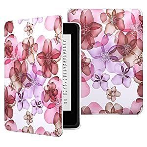 MoKo Case for Kindle Paperwhite, Premium Thinnest and Lightest PU Leather Cover with Auto Wake / Sleep for Amazon All-New Kindle Paperwhite (Fits 2012, 2013, 2015 and 2016 Versions), Floral PURPLE