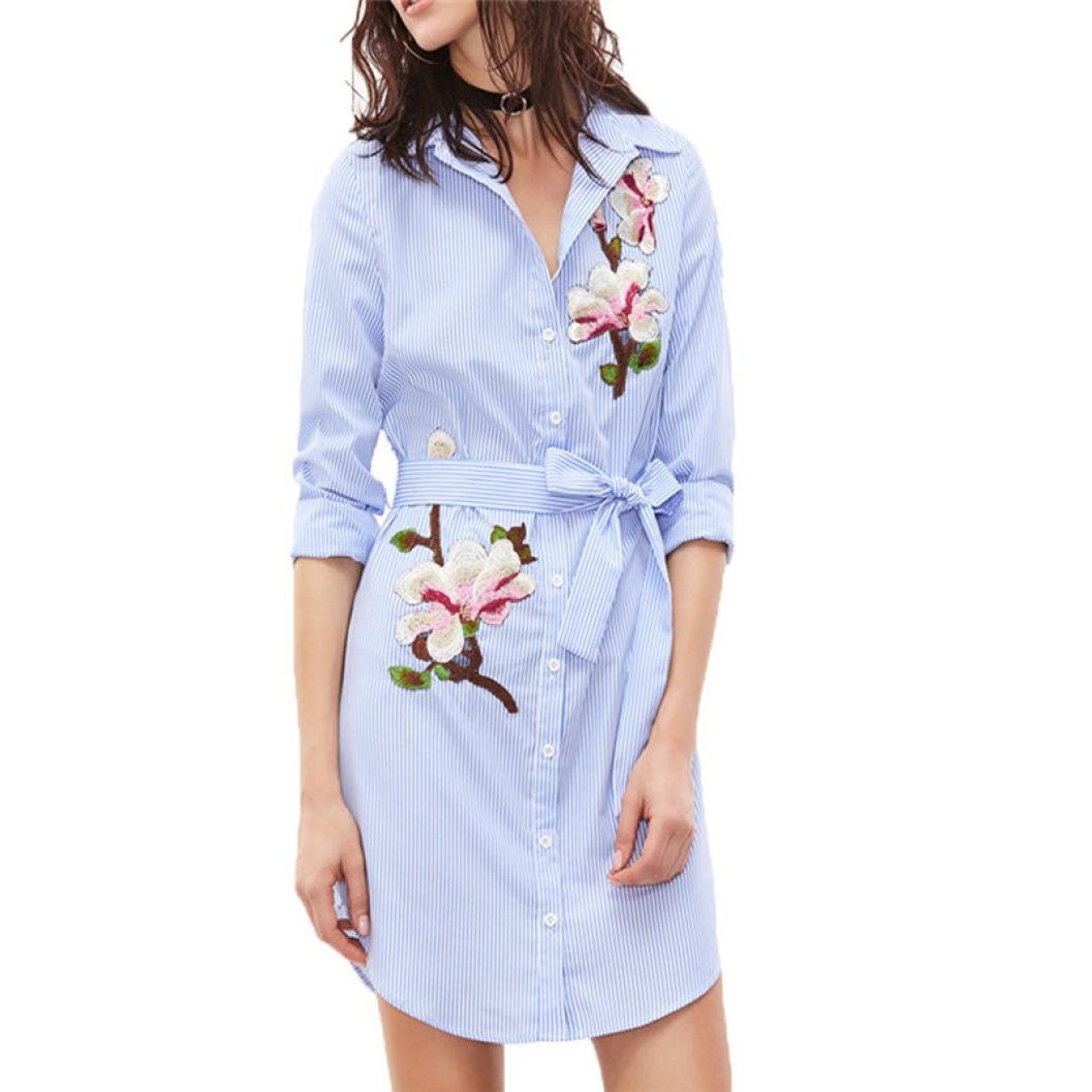 Hot Sale Dress,Han Shi Women Floral Print Striped Long Sleeves Embroidered Shirt Dress (Blue, L)