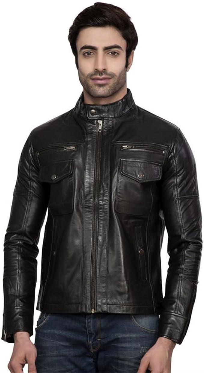 Mens Tough Black Genuine Lambskin Leather Jacket Biker Jacket
