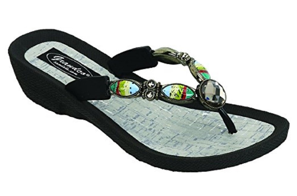 Grandco Womens Bahama Blue Style Sandal Thong (7, Black)