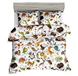 KTLRR Animal Duvet Cover Set,Animals Zoo Cute Cartoon Style Kids Bedding,Soft Polyester Fabric 3Pcs Full Size Bedding Sets with 2 Pillow Shams - No Comforter (Animal, Full 3pcs)