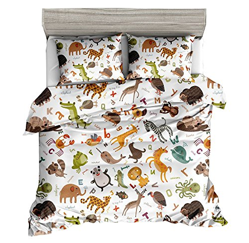 KTLRR Animal Duvet Cover Set,Animals Zoo Cute Cartoon Style Kids Bedding,Soft Polyester Fabric 3Pcs Full Size Bedding Sets with 2 Pillow Shams - No Comforter (Animal, Full 3pcs) by KTLRR
