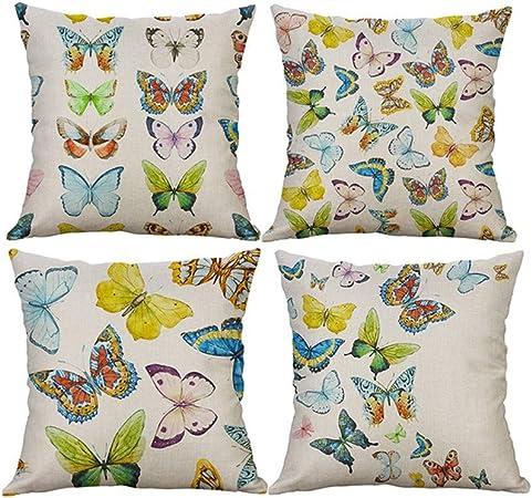 Fossrn Fundas Cojines 45x45 Mariposa Lino Funda de cojín Almohada Modernos Decorativo para Sofa Jardin Cama,4PC/Set (01): Amazon.es: Hogar