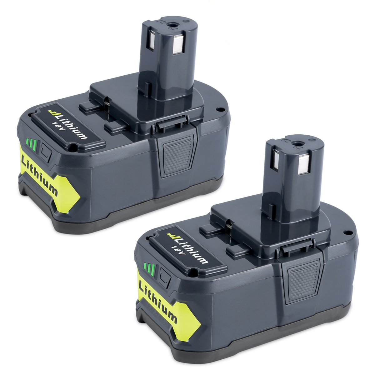 Biswaye 2 Pack 18V 5000mAH Lithium Ion Replacement Battery for Ryobi 18-Volt ONE+ Tool P122 P102 P103 P104 P105 P107 P108 P109 P100