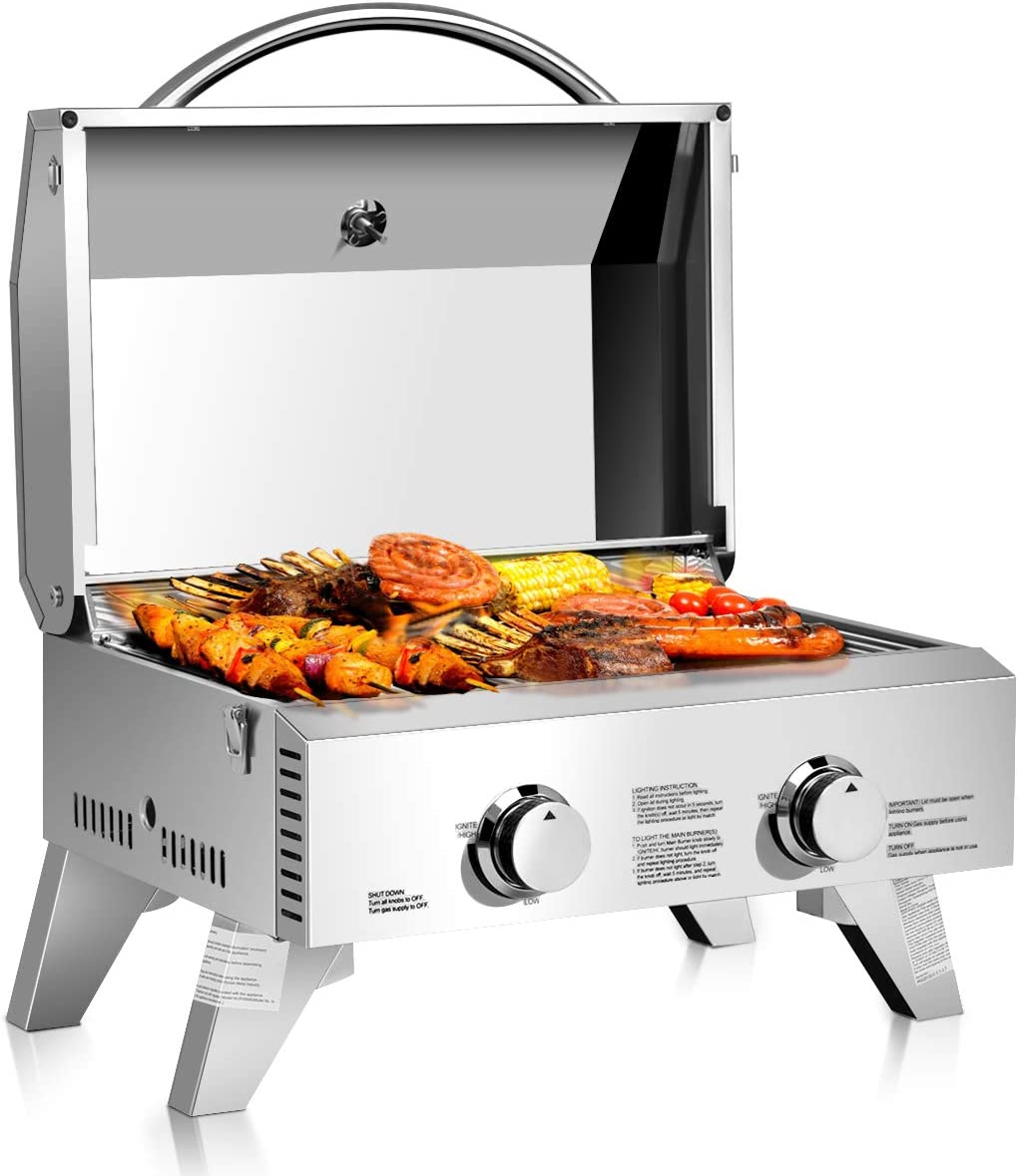 Giantex Propane Tabletop Gas Grill Stainless Steel Two-Burner BBQ, with Foldable Leg, 20000 BTU, Perfect for Camping, Picnics or Any Outdoor Use, 22 x 18 x 15 , Silver