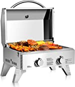 Giantex Propane TableTop Gas Grill Stainless Steel Two-Burner BBQ, with Foldable