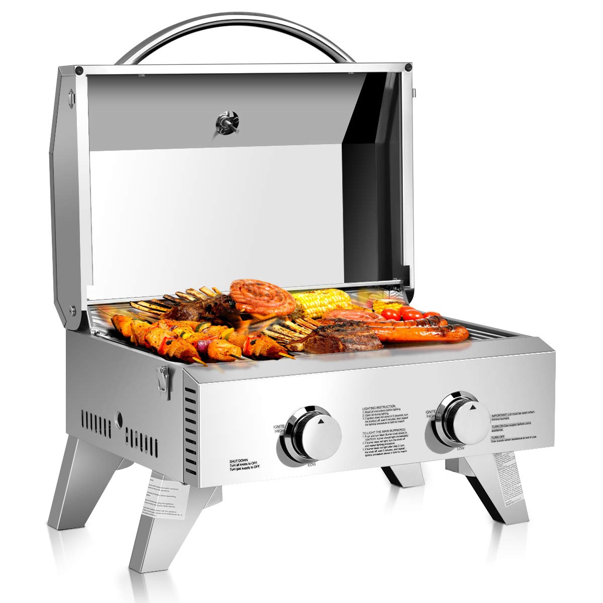 Giantex Propane Tabletop Gas Grill Stainless Steel Two-Burner BBQ, with Foldable Leg, 20000 BTU, Perfect for Camping, Picnics or Any Outdoor Use, 22'' x 18'' x 15'', Silver by Giantex