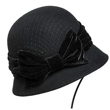 3ddd8d7f304 Womens Vintage Woolen Felt Fedora with Bowknot Floppy Hats Cloche Derb Bowler  Hat (Black) at Amazon Women s Clothing store