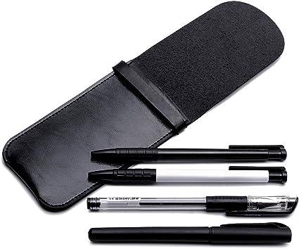 Shuxy Portatarjetas de cuero Fuente hecha a mano Estuche para bolígrafos múltiples Cubierta protectora suave de la manga de la pluma para Bolígrafo, Stylus Touch Pen - Negro: Amazon.es: Oficina y papelería