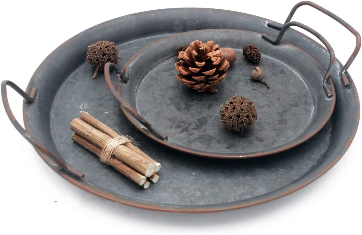 Industrial Style Metal Iron Tray Set of 2, Diameter:12.8 inch and 8.6 inch,Galvanized tin Color
