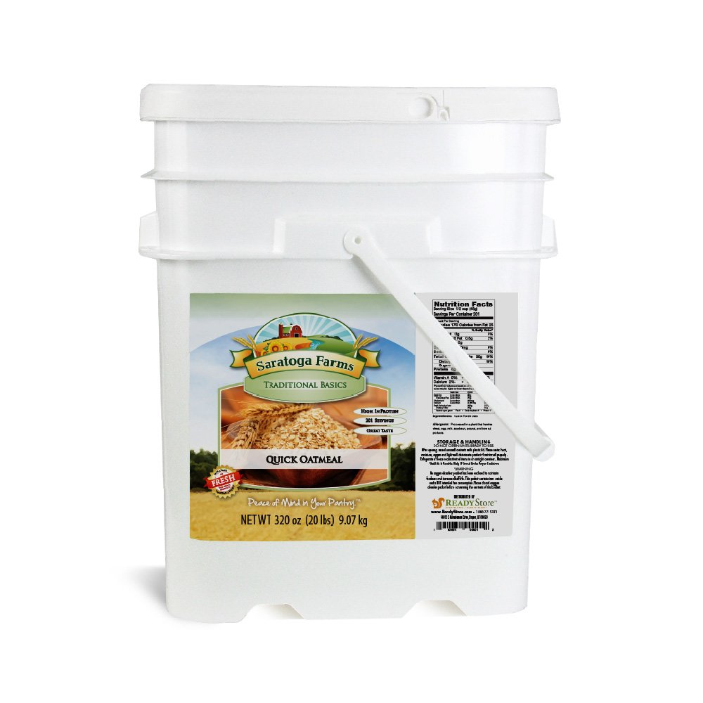 Saratoga Farms Quick Oatmeal ValueBUCKET, 5.3-Gallon Bucket, 320 Ounces Of Oats, Quick & Easy, Prepares In Minutes