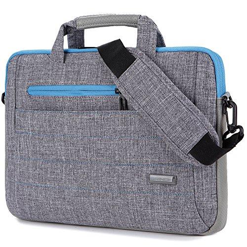 BRINCH 15-15.6 Inch Multi-Functional Suit Fabric Portable Laptop Sleeve Case Shoulder Messenger Bag Briefcase for Laptop, Tablet, MacBook, Notebook - Grey-Blue