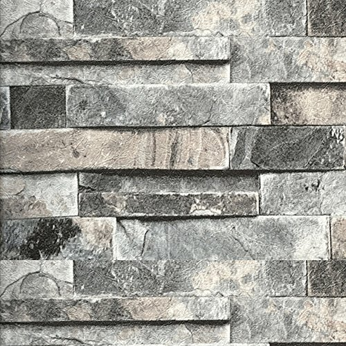 Brick Wallpaper, Stone Textured, Removable and Waterproof for Home Design and Room Decoration, Gray Brick Wallpaper Super Large Size 0.53m x 10m / 393.7