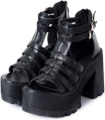 Chunky Heel Sandals Punk Shoes Sandals