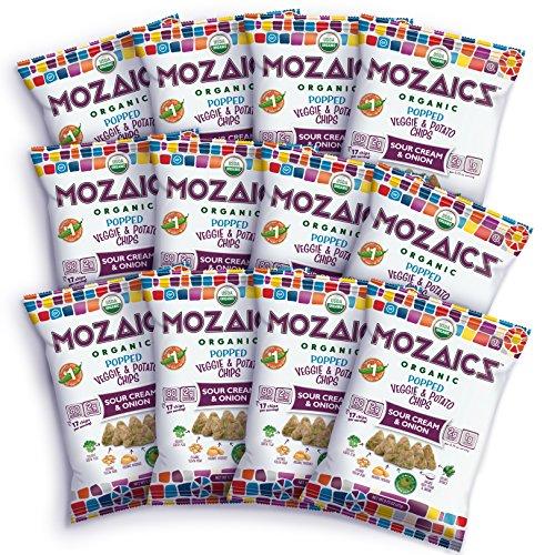 (Mozaics Organic Popped Veggie & Potato Chips- Healthy snack, under 100 calories, better than veggie straws or stix - gluten free - 0.75oz single serve bags (Sour Cream & Onion,)