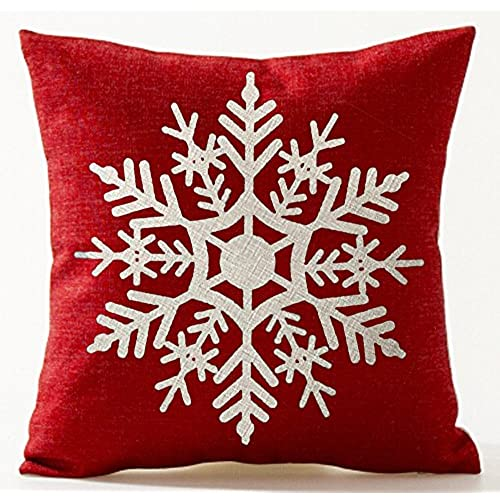 winter greetings beige ivory shadow beautiful snowflake in red merry christmas gifts cotton linen throw pillow case cushion cover home office living room