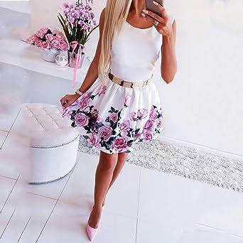 CAOQAO elegancka damska sukienka balowa, sukienka ślubna, odświętna sukienka z okrągłym dekoltem, rÓżowa sukienka z nadrukiem: Odzież
