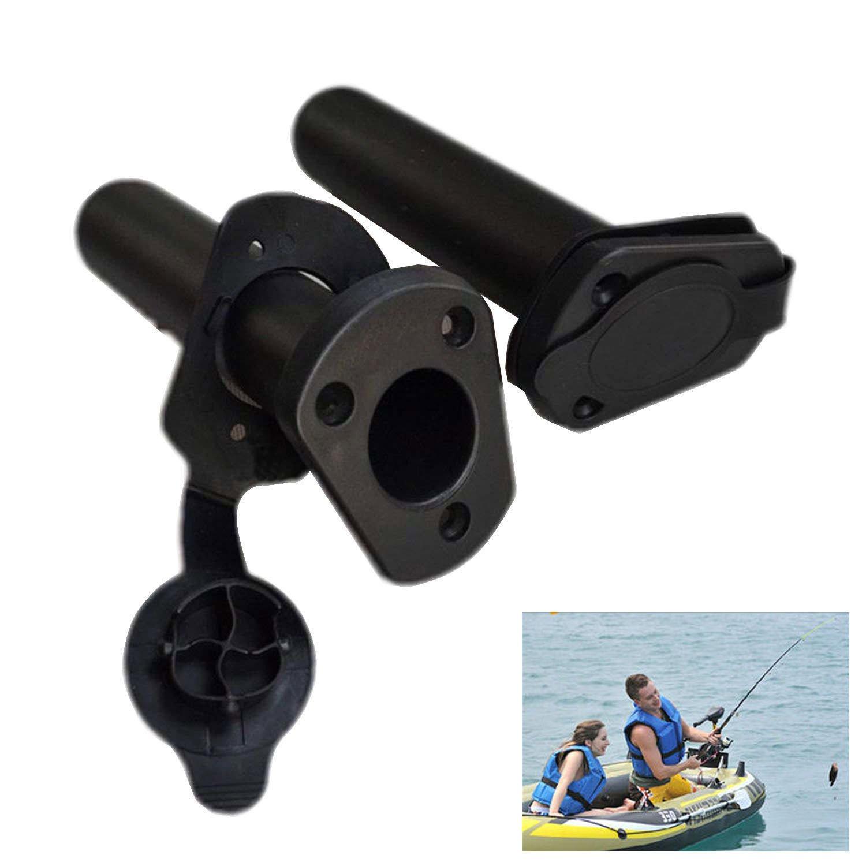 Waller paa 2pcsプラスチックフラッシュマウント釣りボートロッドホルダーブラケットとキャップカバーKayak   B074Q571XP