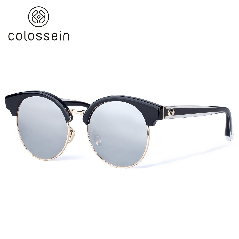 COLOSSEIN runde polarisierte Sonnenbrille, Damen Sonnenbrille, UV400-Schutz, verspiegelte Linse, mit klassischem Design für Damen