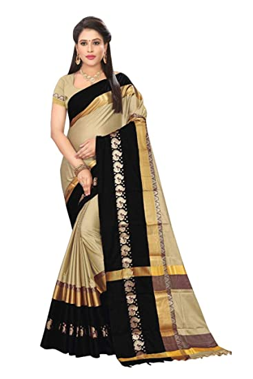 db757715db Trymode Cotton Silk Saree With Blouse Piece(Tym_Sweta D.No.14_S_Beige_Free  Size): Amazon.in: Clothing & Accessories