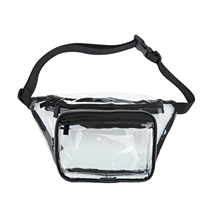 7f57121847d5 Gymtion Clear Fanny Pack with Double Zipper and Adjustable Strap